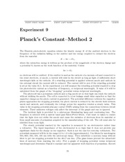 Planck's Constant Lab Experiment 9 Further Analysis