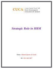 Strategic Role in HRM.docx