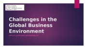 Challenges in the Global Business Environment