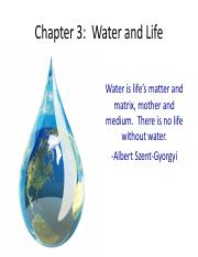 Chapter 3 Water and Life 2017