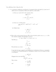 Problem Set 3 with Solutions-Competitive Equilibrium