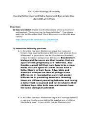 SOCI 4240 Essential Father online assignment(1).docx