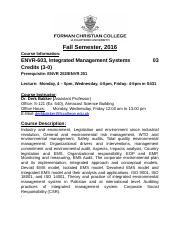 Course outline ENVR-603-Integrated Management Systems