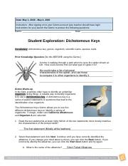 Dichotomous Keys Gizmo.pdf - Date May 1 2020 May 4 2020 ...