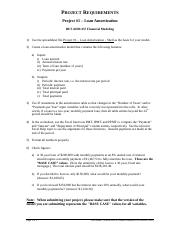 457 - Project #1 - Loan Amortization - Requirements - Fall 2014