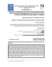 Working Capital Management and the Performance of Selected Deposit Money Banks in Nigeria.pdf