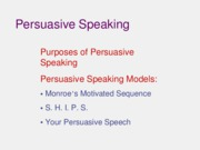 Persuasive Speaking Models