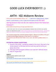 ANTH102SecondMidtermReview