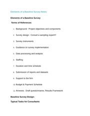 Elements of a Baseline Survey Notes