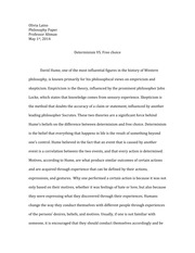 Essay on David Hume's idea of Determinism Vs. Freedom
