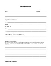 15 Workplace -- Resume Information Worksheet (print and complete for resume infromation)