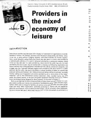 Week 4 Reading - Providers in mixed economy of leisure