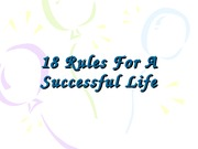 18 Rules For A Successful Life