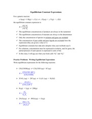 writing equilibrium expressions Chem 1b, pal - introduction to equilibrium (141-146) name: 1 part a: writing equilibrium constant expressions 1) write the equilibrium constant expression (k.