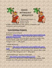 mythology webquest