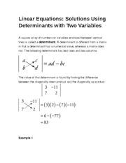 Linear Equations- Solutions Using Determinants with Two Variables