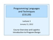 Lec 1 - Course Overview, Intro to Program Design