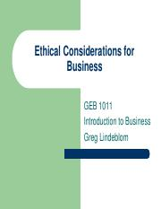 Ethical Considerations for Business - GEB1011 INTRO BUS ONLINE 483486