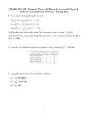 Math 472 Spring 2011 Midterm 2 Additional Problems