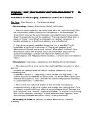 English 161 Problems in Philosophy--Research Question Clusters(1).doc