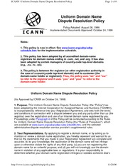 ICANN Domain Name Dispute Resolution Policy