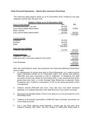 Revision - Past Year Qn - Final Financial Statements
