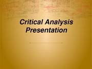Critical Analysis Presentation