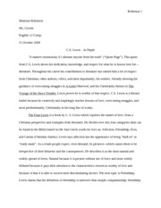 C.S. Lewis - In Depth Essay #2