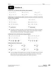 Algebra II Chapter 2 Practice - Name Date 2 1 Practice A In