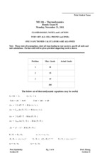 ME 104 Exam 2 Fall 2011 Solutions