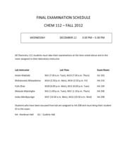 Chem112 Final Exam Fall 2012