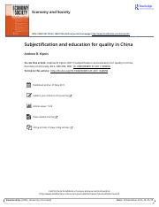 Subjectification and education for quality in China.pdf