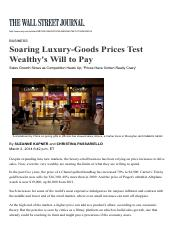 WSJ - Soaring Luxury-Goods Prices Test Wealthy's Will to Pay, 02 Mar 2014