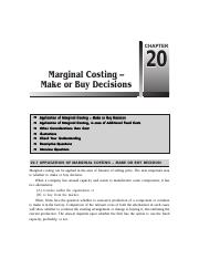 Chapter 20   Marginal Costing-Make or Buy Decisions