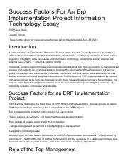 Success Factors For An Erp Implementation Project Information Technology Essay