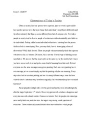 Essay I - Humanities