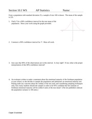 AP Stats 10.1 worksheet