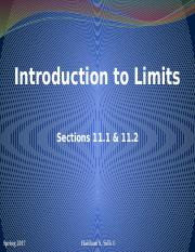 Limits and Limits at Infinity Sections 11.1 11.2 (1)