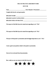 FIELD of practice form