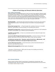 Origins of Psychology and Research Methods Worksheet
