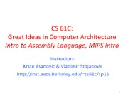 Lecture 6-MIPS, MIPS Functions
