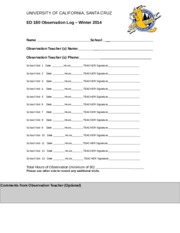 ED180 Observation Log