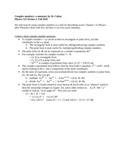 Complex numbers summary