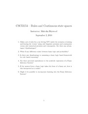 CSCI 3154 Fuzzy Logic questions