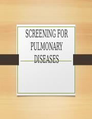 SCREENING FOR PULMONARY DISEASES-1
