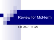 Review for Mid-term
