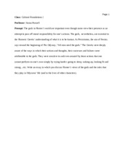 Cultural Foundations Essay Two Homer