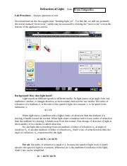 (PhET Refraction Lab Answer Key.pdf - Observations and ...