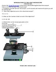 Week 1 Lab B Worksheet Introduction To The Light Microscope