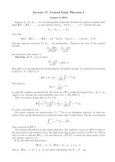 Lecture 17 on Central Limit Theorem I